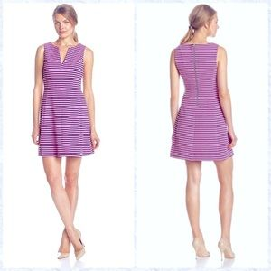 Lilly Pulitzer V Neck Stripe Dress Pink With Blue